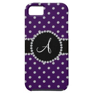 Monogram purple diamonds polka dots iPhone 5 cover