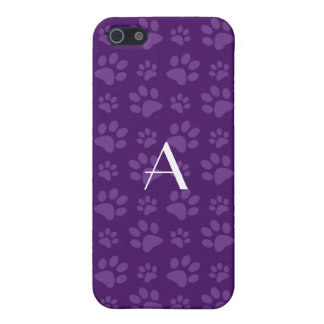 Monogram purple dog paw prints cover for iPhone 5
