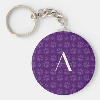 Monogram purple dog paw prints keychains