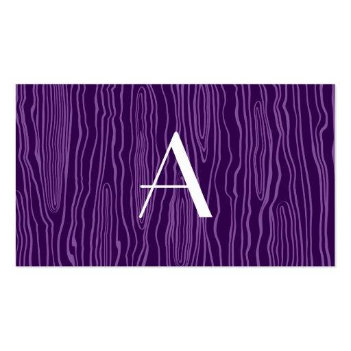 Monogram purple faux bois business card