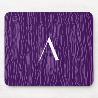 Monogram purple faux bois mouse pad