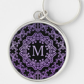 Monogram Purple Filigree Motif Key Chain