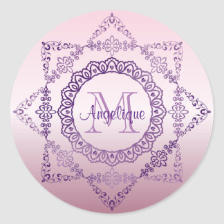 Monogram Purple Frame Fancy Lace Girly Jewel Lilac Classic Round Sticker