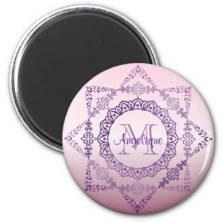 Monogram Purple Frame Fancy Lace Girly Jewel Lilac Magnet