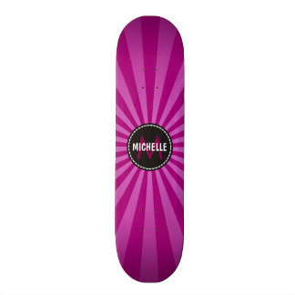 Monogram Purple Funky Sun Rays Pattern Skateboard