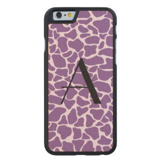 Monogram purple giraffe print carved® maple iPhone 6 slim case