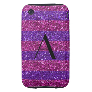 Monogram purple glitter and pink stripes tough iPhone 3 covers