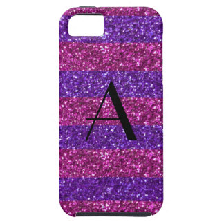 Monogram purple glitter and pink stripes iPhone 5 cases