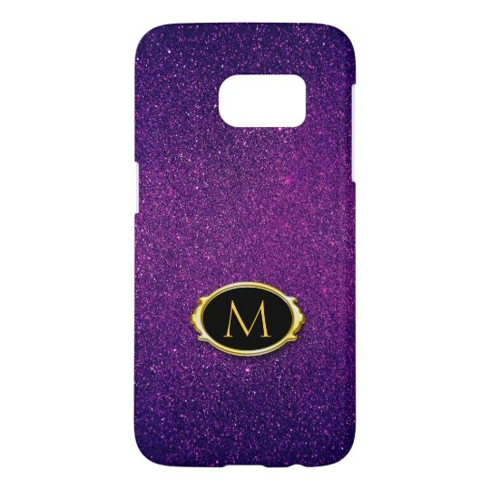 Monogram | Purple Glitter Background
