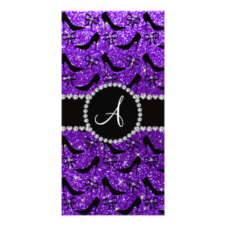 Monogram purple glitter black high heels bow personalized photo card