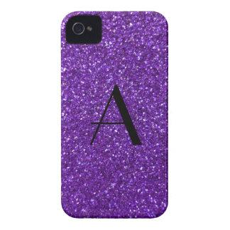 Monogram purple glitter iPhone 4 Case-Mate case