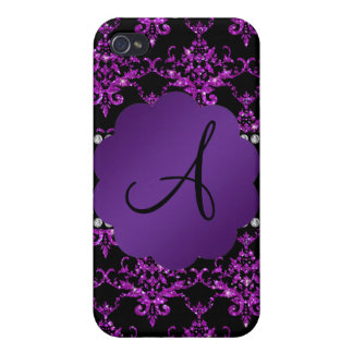 Monogram purple glitter damask covers for iPhone 4