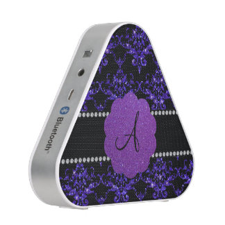 Monogram purple glitter damask speaker