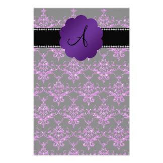 Monogram purple glitter damask stationery design