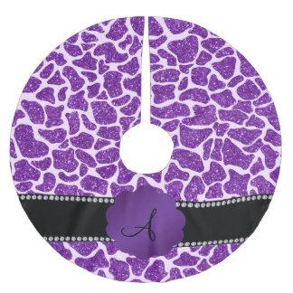 Monogram purple glitter giraffe print brushed polyester tree skirt