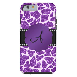 Monogram purple glitter giraffe print tough iPhone 6 case