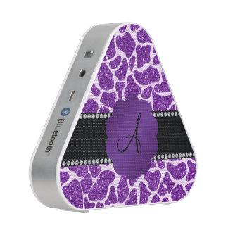 Monogram purple glitter giraffe print bluetooth speaker