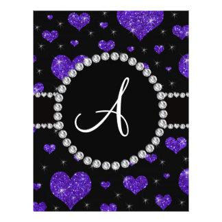 Monogram purple glitter hearts black diamonds flyer design