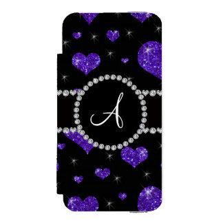 Monogram purple glitter hearts black diamonds incipio watson™ iPhone 5 wallet case