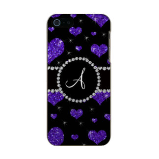 Monogram purple glitter hearts black diamonds incipio feather® shine iPhone 5 case