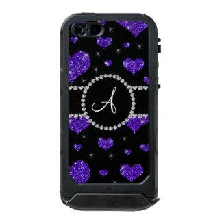 Monogram purple glitter hearts black diamonds incipio ATLAS ID™ iPhone 5 case