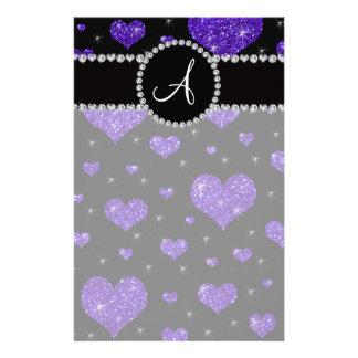 Monogram purple glitter hearts black diamonds personalized stationery