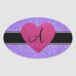 Monogram purple glitter pink heart oval sticker