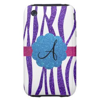 Monogram purple glitter stripes iPhone 3 tough cover