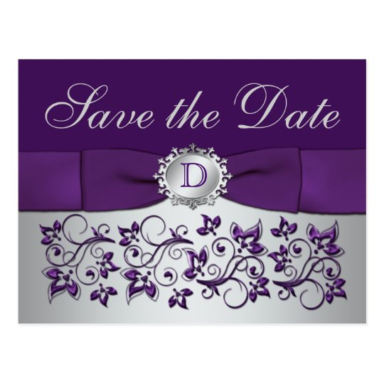 Monogram Purple Grey Floral Save the Date Postcard
