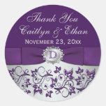 Monogram Purple Grey Floral Wedding Favour Sticker
