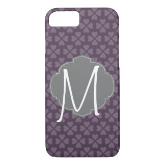 Monogram Purple Heart With Vintage Label iPhone 8/7 Case