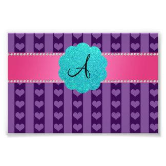 Monogram purple hearts and stripes photo print