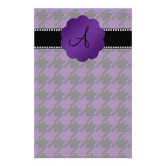 Monogram purple houndstooth stationery