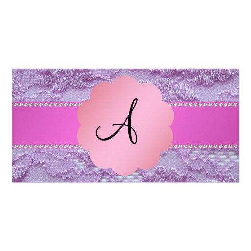 Monogram purple lace personalized photo card