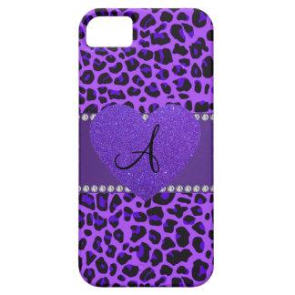Monogram purple leopard heart iPhone 5 cover