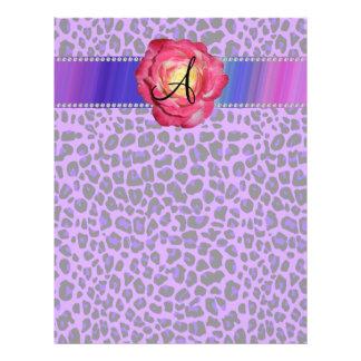 Monogram purple leopard pink rose personalised flyer