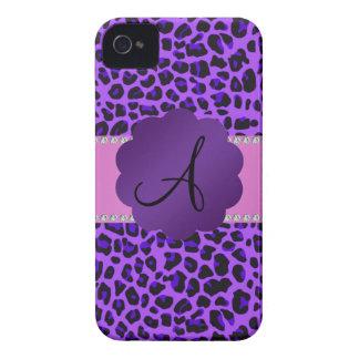 Monogram purple leopard print iPhone 4 cases
