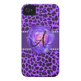 Monogram purple leopard rose iPhone 4 Case-Mate case