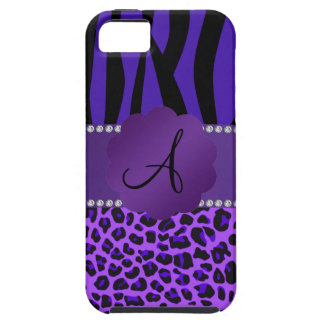 Monogram purple leopard zebra pattern iPhone 5 case