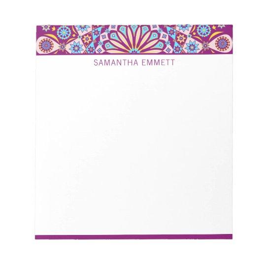 Monogram Purple Mandala Colourful Notepad