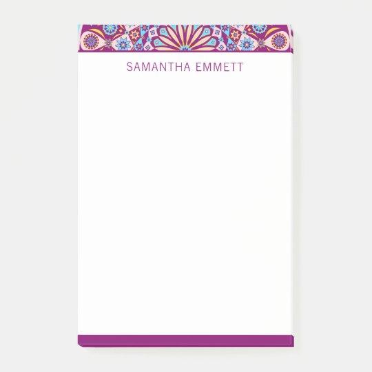 Monogram Purple Mandala Colourful Post-it® Notes
