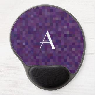 Monogram purple mosaic squares gel mouse pad