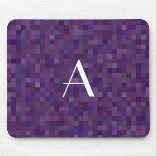 Monogram purple mosaic squares mouse pad