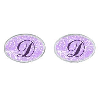Monogram Purple Ornamental Cufflinks Silver Finish Cufflinks