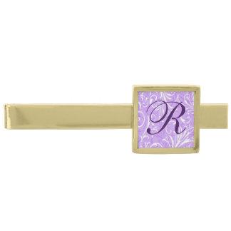 Monogram Purple Ornamental Tie Bar Gold Finish Tie Bar