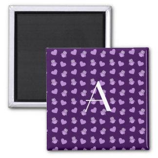 Monogram purple owls and hearts fridge magnets