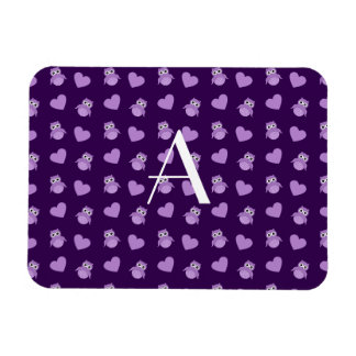 Monogram purple owls and hearts rectangle magnet