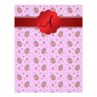 Monogram purple pastel ladybug hearts pattern 21.5 cm x 28 cm flyer