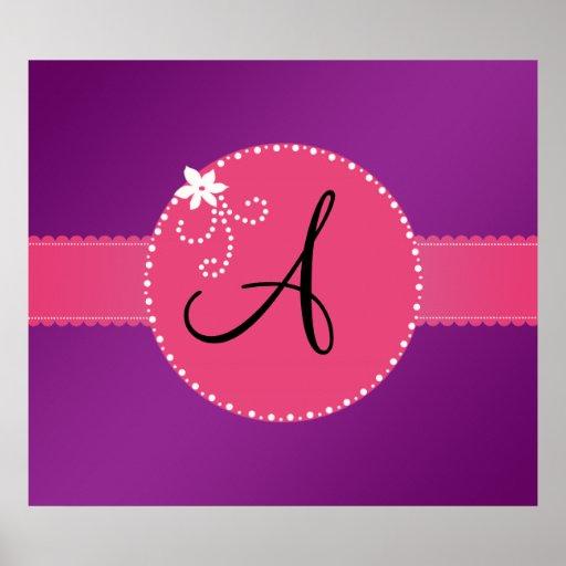 Monogram purple pink flower circle poster