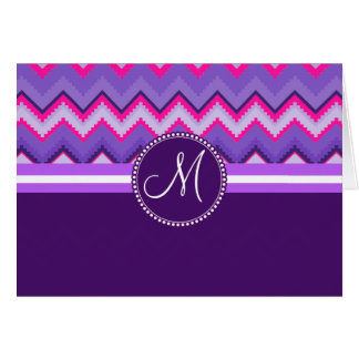 Monogram Purple Pink Tribal Chevron Zig Zags Card